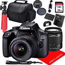 Canon EOS 4000D / Rebel T100 DSLR Camera w/Canon EF-S 18-55mm F/3.5-5.6 III Zoom Lens + 32GB SD Card + More