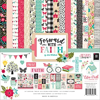 Echo Park Paper Company FWF183016 Forward with Faith Collection Kit Paper, Pink, Green, Teal, Black, tan
