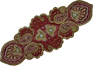 Linen Clubs Hand Made Beaded Table Runner 13x36 Inch in Mini Paisley Design Red Silver Gold Colors,Produced by Skilled Village Artisans in India - A Beautiful Complements to Dinner
