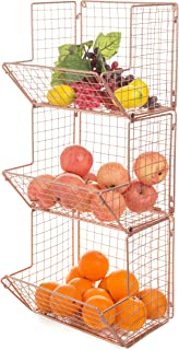 MyGift Wall-Mounted Rose Gold Tone Metal Wire 3-Tier Kitchen Fruit Produce Storage Bin