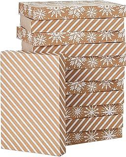 Hallmark Kraft Shirt Box Bundle (12 Boxes: White Snowflakes and Stripes on Kraft) for Christmas, Hanukkah, Birthdays, Wedd...