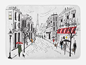 Ambesonne Paris Bath Mat, Old French Pedestrians Stores Trees and The Silhouette of Eifffel Urban Illustration, Plush Bathroom Decor Mat with Non Slip Backing, 29.5