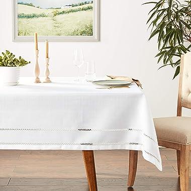 """Violet Linen Hem Stitch Embroidered Vintage Design Oblong/Rectangle Tablecloth, 68"""" X 140"""", White"""