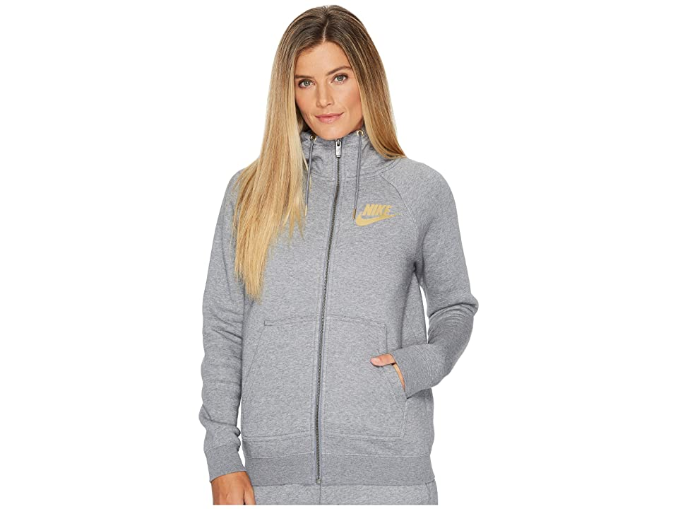Nike Sportswear Rally Metallic Full-Zip Hoodie (Carbon Heather/Cool Grey) Women