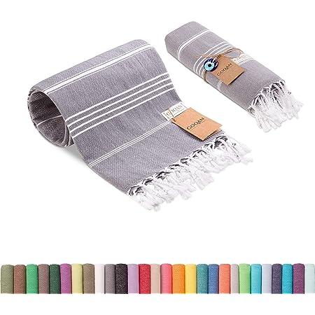 Realgrandbazaar Lucky Turkish Towels Beach Towels %100 Cotton - Pre Washed, No-Shrink, Quick Dry, Soft 39x71' Large Peshtemal, Turkish Towel, Set can be Made - Goqan by realgrandbazaar (Dark Grey)