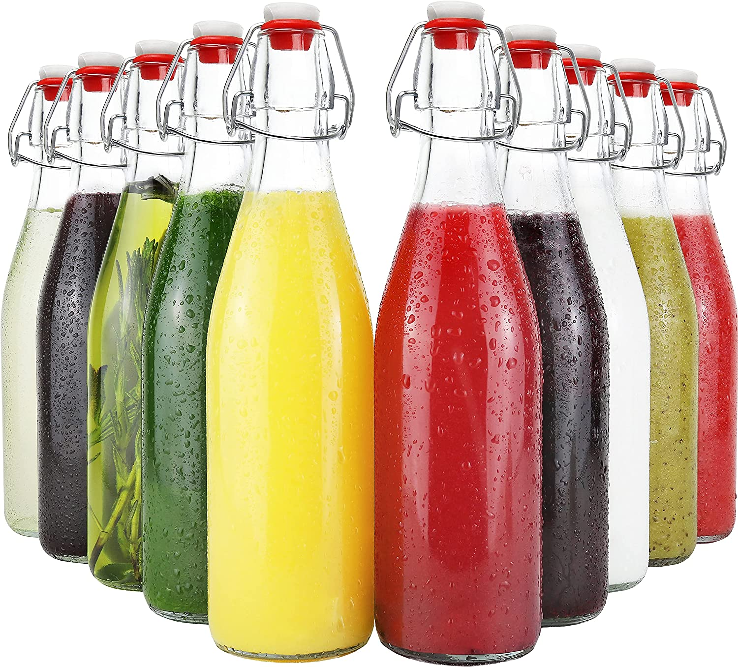 Swing Top Seasonal Wrap Introduction Glass Max 56% OFF Bottles with Caps Stop Leak Lid Airtight Proof