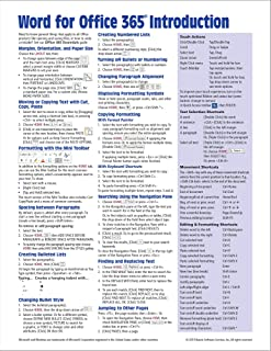 Microsoft Word for Office 365 Introduction Quick Reference Guide - Windows Version (Cheat Sheet of Instructions, Tips & Shortcuts - Laminated Card)