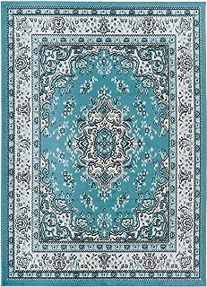 Antep Rugs Kashan King Collection Himalayas Oriental Polypropylene Indoor Area Rug (Blue/Cream 5' X 7')