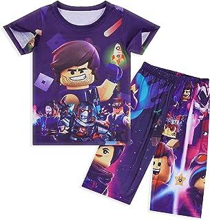 ملابس نوم للأولاد مجموعة أزياء ألعاب الكرتون طباعة قصيرة الأكمام PJs 2 قطعة بلايز وسروال