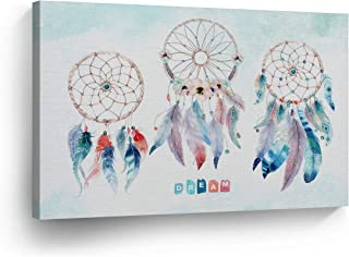 Dream Catcher and The Color Palette Dream Quote Canvas Print Wall Art Bohemian Decor Boho Home Decor Indian Artwork Gallery Wrapped Wood Stretched Ready to Hang -%100 Handmade in The USA - 8x12