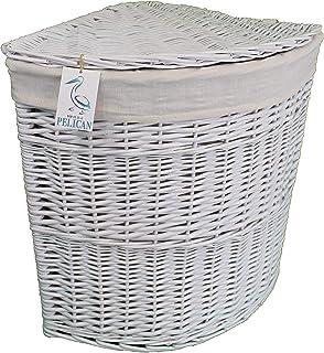 Pop-it-in-a-pelican - Cesta de mimbre para la colada, color gris, marrón y blanco, ratán y mimbre, Blanco, 100 ltr