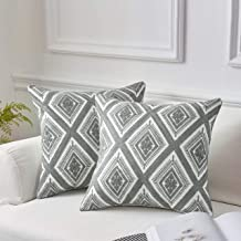 MoMA Decorative Embroidered Diamond Throw Pillow Covers (Set of 2) - Pillow Cover Sham Cushion Cover - Throw Pillow Cover - Sofa Throw Pillow Cover - Square Pillowcase - Grey - 18 x 18