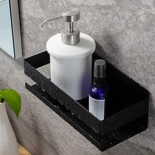 RUICER Estantería para ducha sin taladrar de acero inoxidable autoadhesiva para cuarto de baño color negro
