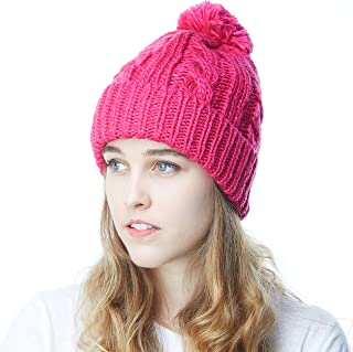 351408bc680 THE HAT DEPOT Winter Oversized Cable Knitted Pom Pom Beanie Hat Fleece  Lining Hat