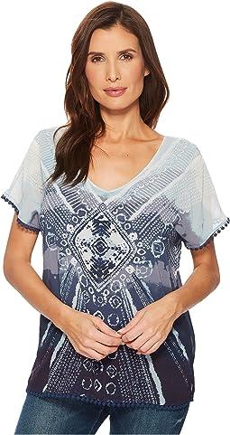 Printed Cap Sleeve Blouse