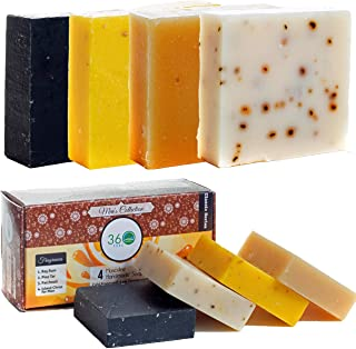 360Feel Men's Handmade Natural Soap bar - 4 Large Best Sellers Mens Soap Bar with Masculine fragrance- Bay Rum, Pine Tar, Patchouli, Citrus Soaps- Gift pack- Organic Mens Soap, Castile Mens Bar Soap