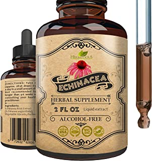 HERBALICIOUS Echinacea Supplement - Organic Root Extract Liquid Drops - Antioxidant Rich Formula for Immune Function Suppo...