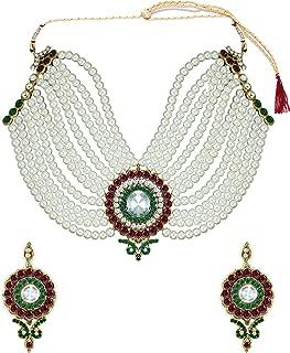 Zaveri Pearls Off-White Non-Precious Metal Choker Necklace Set For Women