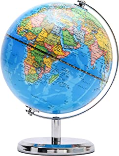 Exerz 20cm World Globe - Educational/Geographic/Modern Desktop Decoration - Stainless Steel Arc and Base - for School, Hom...