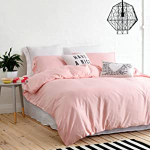 UFO Home 300 Thread Count 100% Cotton Sateen Solid Navy Color Bright Gem Blue High-end 4pc Duvet Cover Set Full/Queen Size (Full Size, Pink)