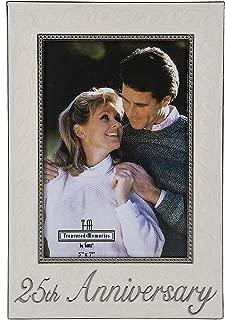 Ganz White and Silver Photo Frame 25th Anniversary Home Decor