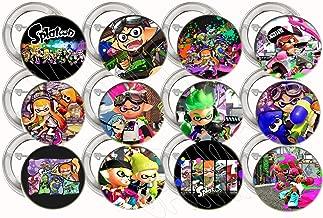 أزرار ألعاب الفيديو من سبلاتون زرار ألعاب الفيديو هدايا الحفلات ديكورات معدنية قابلة للتجميع، كبيرة 2.25 - 12 قطعة، تحتوي على لعبة إطلاق كرات الطلاء والأخوات الحبار