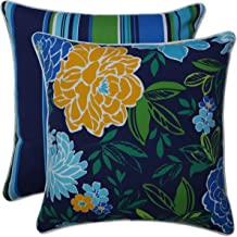 Pillow Perfect Outdoor Indoor Spring Bling Bluesea Island Stripe 5 Inch X 1 18.5-inch Throw Pillow (Set of 2), 18.5 X 18.5...
