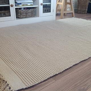 Second Nature - Alfombra de rayas fabricada con algodón natural y yute, 120cm x 180cm, color beis crema claro.