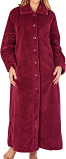 """Slenderella Ladies Womens 52"""" / 132cm Soft Thick Waffle Fleece Collared Button Up Bath Robe Dressing Gown House Coat Size ..."""