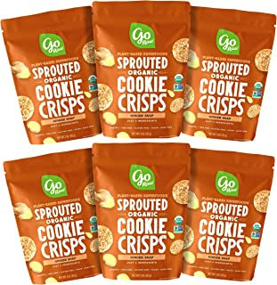Go Raw Snacks, Sprouted Superfood Cookie Crisps, Ginger Snap (pack of 6 x 3oz bags) — Gluten Free | Vegan | Natural | Orga...