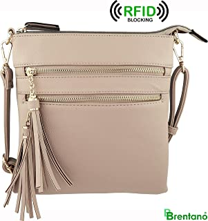 Vegan Mini Multi-Zipper Crossbody Handbag Purse with Tassel Accents