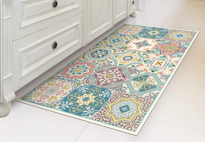 IRI GIRI Vinyl Kitchen Floor Mat Decorative Linoleum PVC Rug Runner Tile  Flooring , Colorful, Durable, Anti Slip, Hand Washable, and Protects Floors  ...