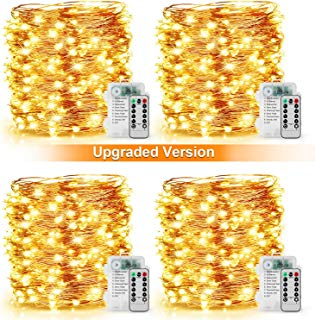 [2019 Upgraded] 33Ft 100 LED Fairy String Lights Battery Operated, Waterproof 8 Modes Remote Control Timer Copper Wire Twinkle String Lights for Bedroom Wedding Party Decor (Warm White - Pack of 4)