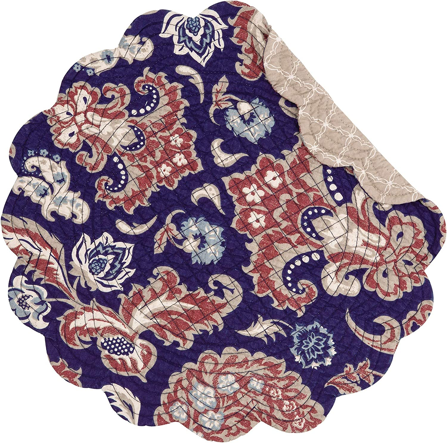 CF Home Rosamund shop Damask Round Placemat A surprise price is realized Quilted 6 Reversi Set of