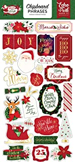 Echo Park Paper Company MB160022 Merry & Bright 6x12 Phrases chipboard, Red/Green/Pink/Black/Gold/Mint