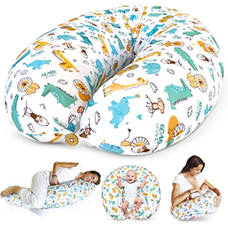 Bamibi Nursing Pillow and Positioner - Multi-Use Breastfeeding Pillow for Baby and Body Pillow for Pregnancy with Machine Washable 100% Cotton Cover - Bonus Head Positioner Cushion (Animals)