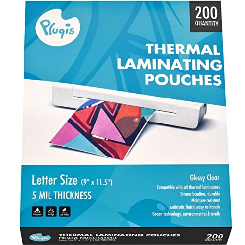 Pluqis Thermal Laminating Pouches 5 mil, 9 x 11.5 inch (200 Letter Size Sheets), Use with Any Thermal Laminator, Clear, Glossy, Wrinkle Free, Anti Static, Photo Safe, Waterproof