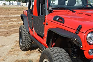 DV8 Jeep Wrangler Fender Flares Slim Style Front and Rear Aftermarket Offroad Fenders Perfect for 4x4 Fits 07-17 JK Model Includes Hardware for Easy Installation FENDB-06