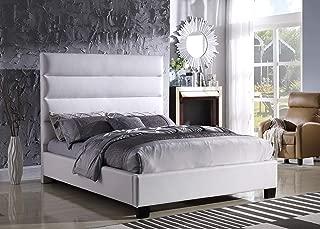 Best Master Furniture Laney Simple Faux Leather Platform Bed, King, White