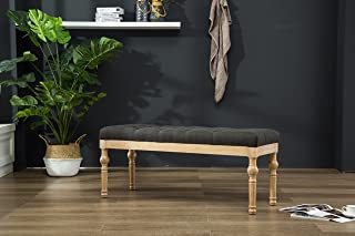 356c5a1d0da2 Roundhill Furniture CB161CC Habit Solid Wood Button Tufted Dining Bench
