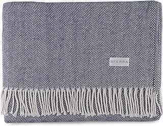 navy herringbone throw blanket