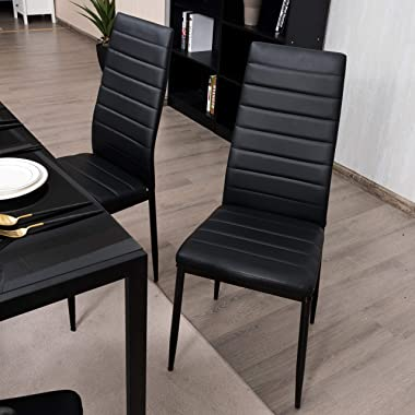 Giantex Set of 6 Dining Chairs, High Back Dining Room Chairs w/Steel Frame, Easy for Cleaning, PU Leather Chairs for Home Kit