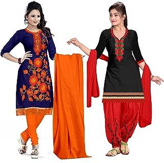 Ethnicset Women's Cotton Silk Salwar Suit Salwar Suit Material (saheli-whale_Combo)