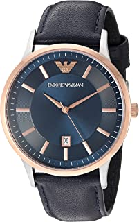 Emporio Armani Men's Ar2506 Dress Black Leather Quartz Watch, Blue Band, Analog Display
