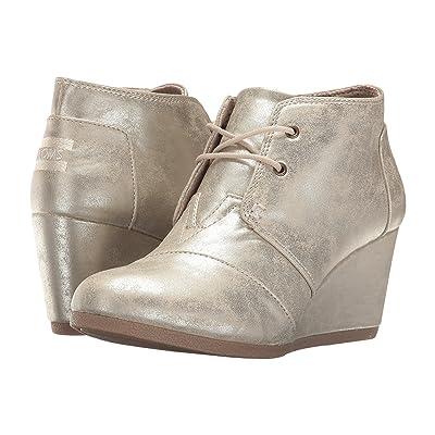 TOMS Desert Wedge (White Gold Metallic Synthetic Leather) Women