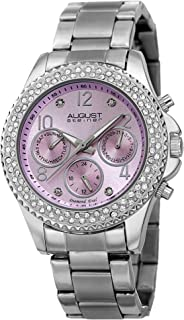 August Steiner Women's Multifunction Crystal Bezel Fashion Watch - Lavender Sunburst Diamond Dial with Day of Weekek Date,...