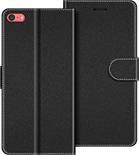 COODIO Funda iPhone 5C con Tapa, Funda Movil iPhone 5C, Funda Libro iPhone 5C Carcasa Magnético Funda para iPhone 5C, Negro