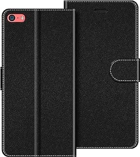 COODIO Funda con tapa para iPhone 5C, Funda para iPhone 5C, Funda tipo libro para iPhone 5C, Funda magnética para iPhone 5C, Negro