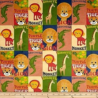 Michael Miller Minky Retro Zoo Animal Fabric by The Yard, Multi