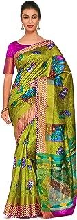 Kupinda Art Kalamkari Prints Saree with ikkat, pochampally and Kanjivaram Print Pattren ith Contrast Blouse Color: Green (4259-RP6-SALN-21-OLV)